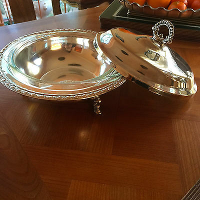 Elegant 3 Pc Vintage Casserole Dish Silver Plated Clawfooted Server