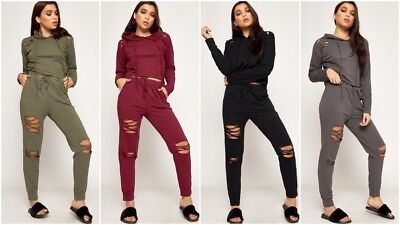 New Ladies Distressed Ripped Hooded Crop Top Joggers Loungewear Tracksuit UK8-14