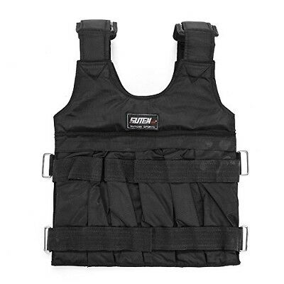 (50kg) - Black Adjustable Weight Training Jacket Weight Vest Workout Weighted