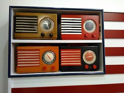 FOUR (4) EMERSON PATRIOT RADIOS in USA FLAG Wall Hanger case RED WHITE BLUE