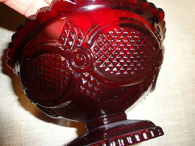 """NWOB AVON The 1876 Cape Cod Collection Footed Candy Dish 5"""" Glass Ruby Red"""