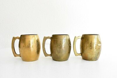 Set of 3 Vintage Brass Bar Ware Drinking Mugs Etched Moscow Mule Style Tankard