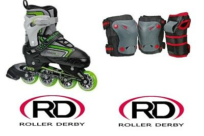 RDS Inline Skates Blades Boys Cheetah Adjustable With Knee/Wrist/Elbow Guards