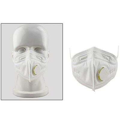 10Pc Disposable Work Dust Masks Valved FFP3 Respirator Face Breathing Face White
