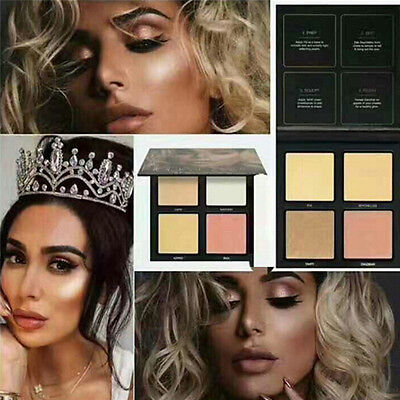 4 Color 3D Highlighter Face Powder Palette EyeShadow Bronzer Gold Pink Beauty SU