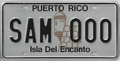 PUERTO RICO SAMPLE LICENSE PLATE Isla Del Encanto with issue letter