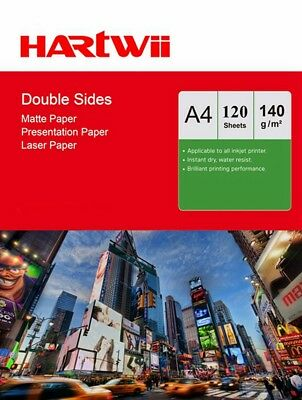 A4 Matte Matt Double Sided Photo Paper Inkjet Laser Print 140Gsm  - 120 Sheets