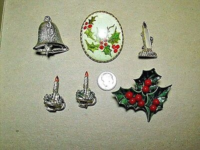 6 Christmas Pins Rhinestone Bell, Candles, Holly Leaves