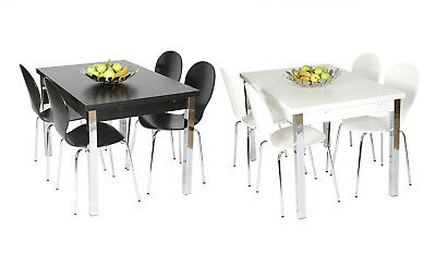 Dining Chairs Chrome Legs Black Ash or White Melamine Modern Kitchen Set of 4