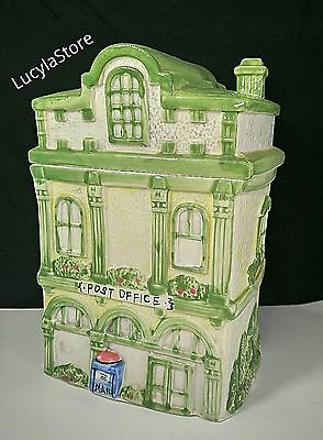 """Vintage Collectible Ceramic Cookie Jar / Canister  -Town Post Office Building 9"""""""