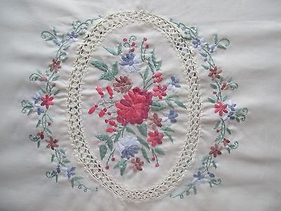 Large Vintage Linen Cotton Hand Embroidered Pastel Floral Panel Oval Tablecloth