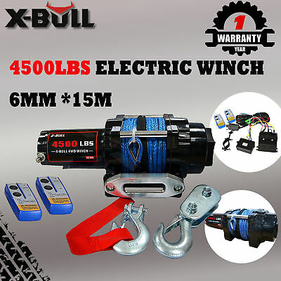 X-BULL 12V 4500LBS /2041kg Electric Winch Synthetic Rope 2 Remote Wireless ATV