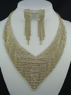 Princess necklace with pierced earrings Gold / Crys pendant set
