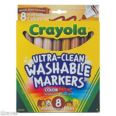 Crayola Art Craft Paint Drawing Supply Skin Clothing Washable Colour Marker 8pc