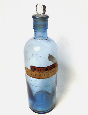 Antique POISON ACETUM CANTHARIDIS B.P. Blue Bottle Apothecary Pharmacy