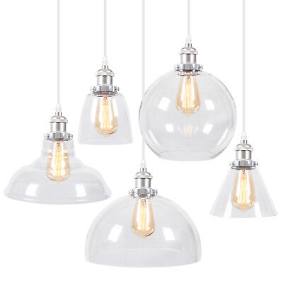 Pendant Lighting Glass Shade Silver Industrial Ceiling Light Lamp Home Free Bulb