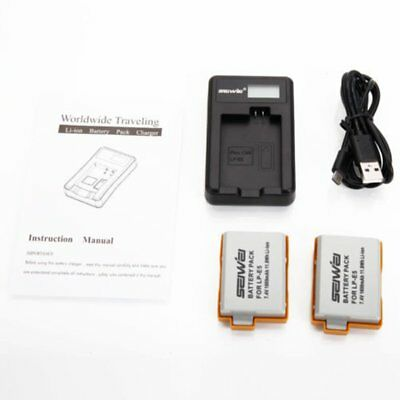 2 x 1600mAh Battery Dual USB Charger For Canon LP-E5 EOS 450D 500D 1000D Lot U