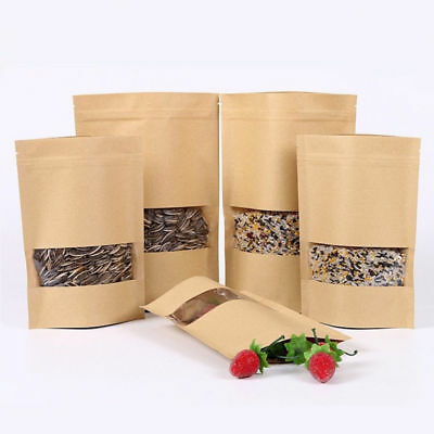 10x Waxed Kraft Paper Candy Food Bag With Window Self Sealing Envelope Xmas Gift