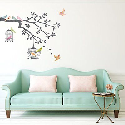 Decowall DW-1510 Birds on Tree Branch with Bird Cages Peel and Stick Nursery ...
