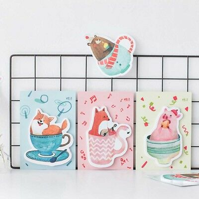 Cute Animal Sticky Notiz 30 Blatt Memo Pad Bear Fox Pig Dog Aufkleber