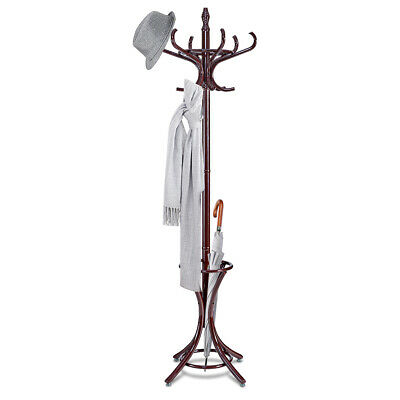 Wood Standing Hat Coat Rack Jacket Bag Hanger Tree 12 Hooks w/ Umbrella Stand