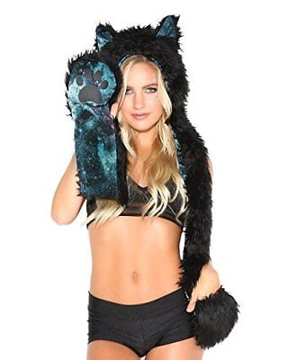 iHeartRaves Panther Rave Spirit Fluffy Furry Hood Electric Galaxy