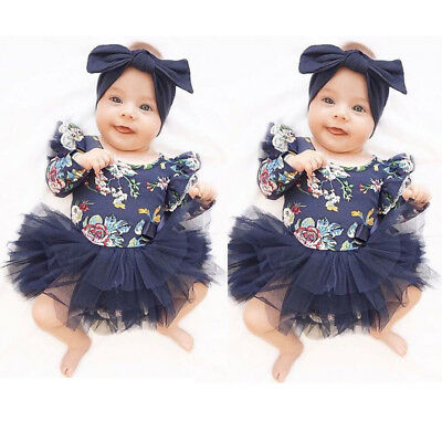 US Stock Toddler Baby Girls Long Sleeve Romper Bodysuit Playsuit Clothes Outfits