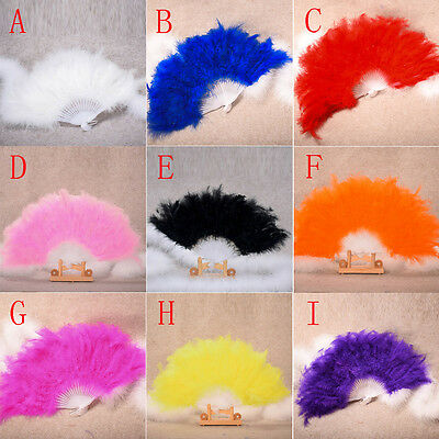 For Wedding Showgirl Dance Elegant Large Feather Folding Hand Fan Decor Decal