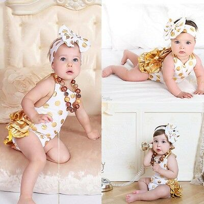 AU Stock Newborn Baby Girls Romper Jumpsuit Playsuit Headband Party Outfits Set