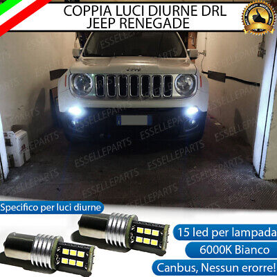 Coppia Lampade Diurne Posizione Drl 15 Led Bay15D Canbus Jeep Renegade 6000K