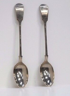 Fine Pair Of Large Silver Serving Spoons - Early 20Th Century