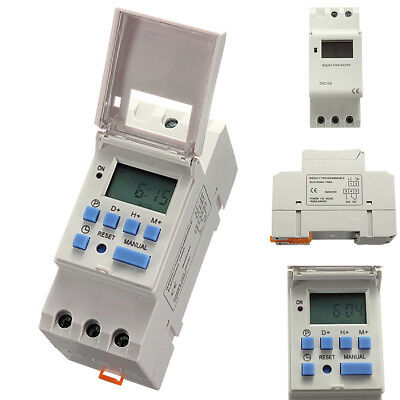 High Quality DC 12V Din Rail LCD Programmable Timer Switch Time Relay Switch UK