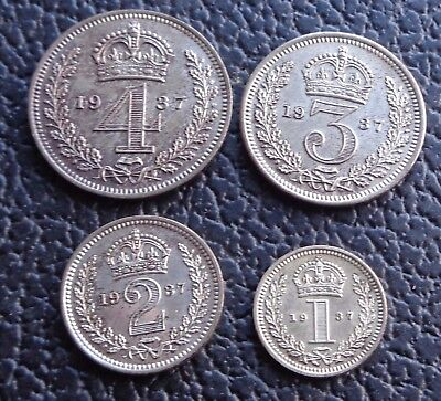 1937 George VI Silver Maundy Money 4 Coin Set