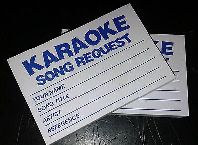4 x 100 Karaoke request slips - Blue - FREE POSTAGE