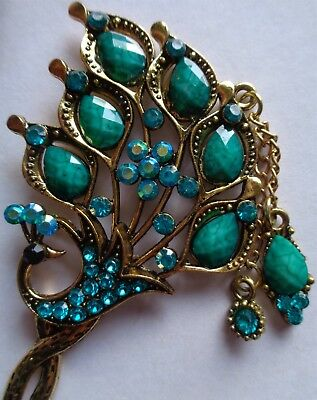 1 x Beautiful Vintage Style Etched Brass Bejewelled Peacock Letter Opener Aqua