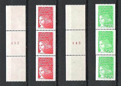 FRANCE NEUF** 1997 3084a 3100a Type MARIANNE 14 JUILLET roulettes N°rouge