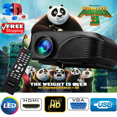 Excelvan LED-4018 1200 Lumens 1080P 3D HDMI USB VGA AV TF Home Cinema Theater AU