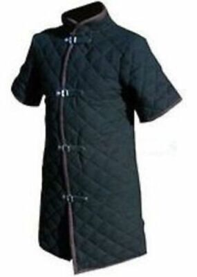 Thick black color viking Gambeson Medieval Padded collar short sleeves Armor XZ1
