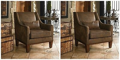 Pair Western Decor Nail Head Clay Accent Armchair Faux Tanned Leather