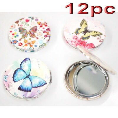 12pc Wholesale Butterfly Round Pocket Makeup Cosmetic Compact Mirror Mixed