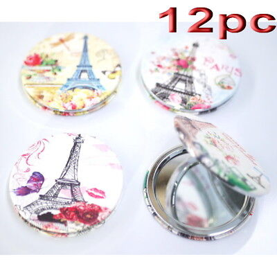 12pc Wholesale Eiffel Towel Round Pocket Makeup Cosmetic Compact Mirror Mixed