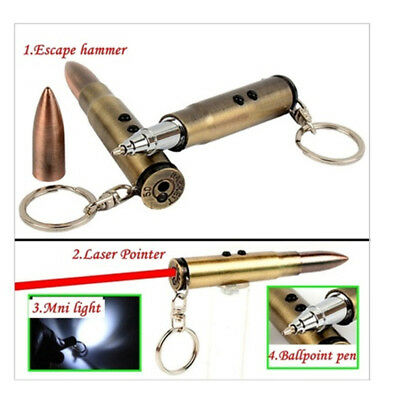4-in-1 Laser Pen Bullet Shape Keychain Light Hammer Survival Ballpoint Torch