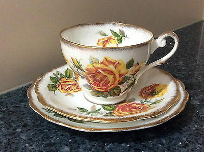 Royal Standard Romany Rose Cup, Saucer & Side Plate Trio Made in England