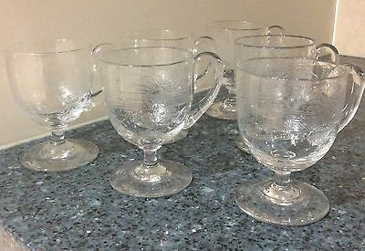 Set of 6 Etched Glasses with Handle