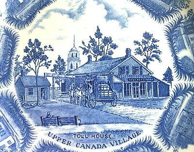 Vintage Decorative Village Toll House Blue White China Plate Wood Sons England p