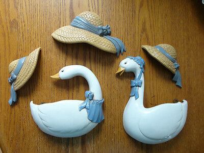 Home Interiors 5pc Set Resin '' Ducks & Hats '' Wall  Pockets / Accent