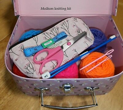 Children's Knitting Kit in a Unicorn Case Learn how to Knit COMPLETE Beginners