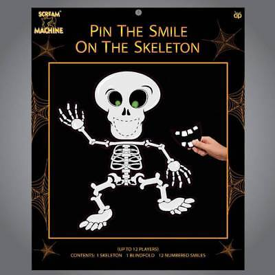 Pin the Smile on the Skeleton Family Halloween Kids Adults Party Game Prop