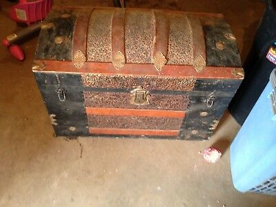Vintage 1800's Metal Inlay Camel Back Steamer Trunk(Extremely Rare)