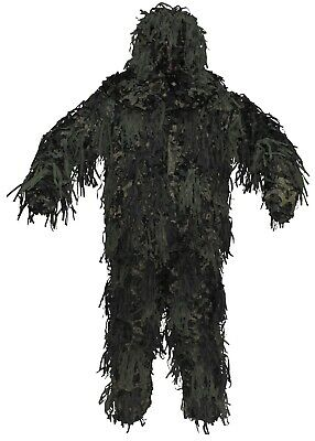 3 tlg Tarnanzug Ghillie Suit Paintball Sniper Tarnung woodland Jagd 3D Body camo